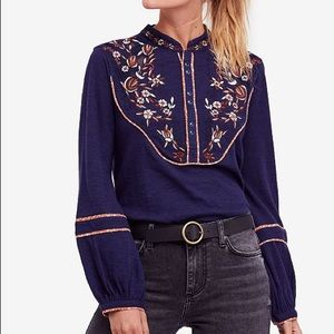 Free People Sundance Kid Embroidered Henley Blouse